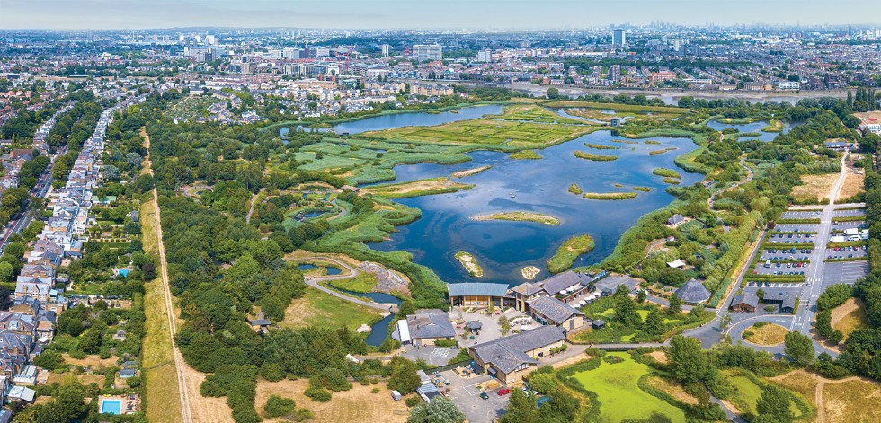 Aerial view of London Wetland Centre