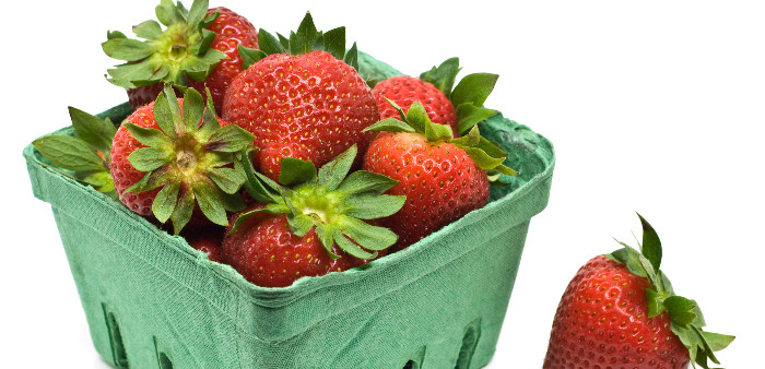 Cardboard punnet of strawberries