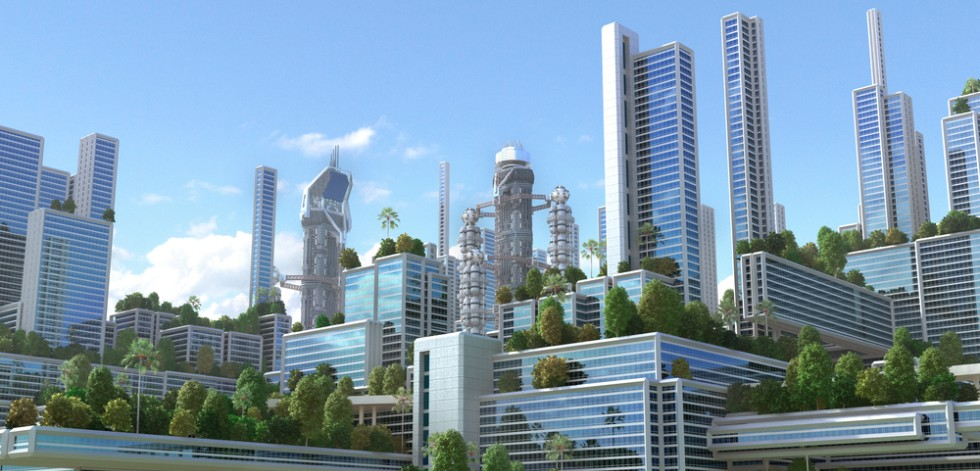 Illustration of office buildings surrounded by trees and green space