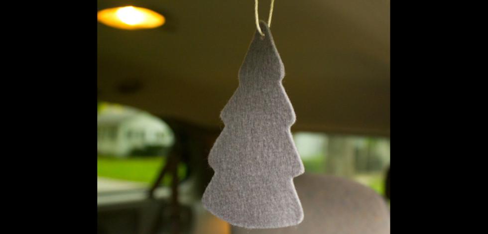 DIY felt tree air freshener hanging in a car