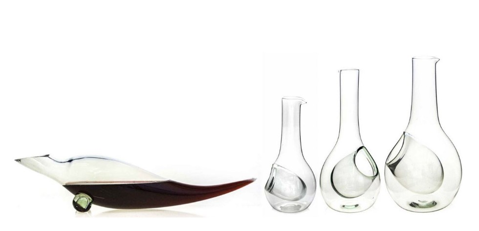 Glass wine coolers and decanter