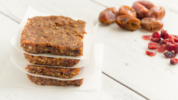 Homemade energy bars lined with wax paper