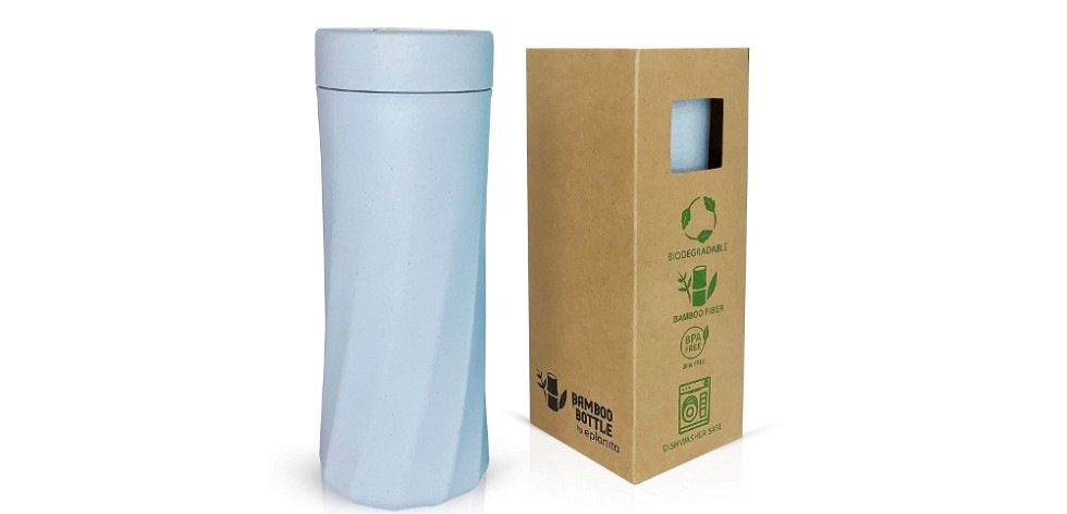 Photograph of a white chamfered water bottle with lid, next to its eco-friendly cardboard box packaging