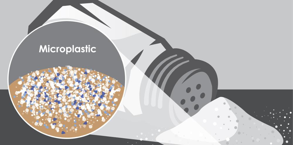 Illustration showing microplastics in sea salt