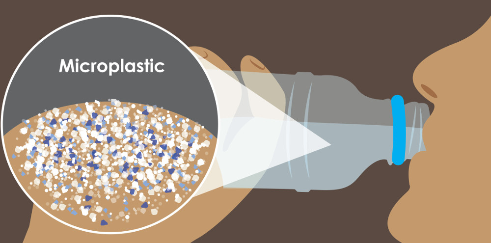 Illustration showing microplastics in drinking water