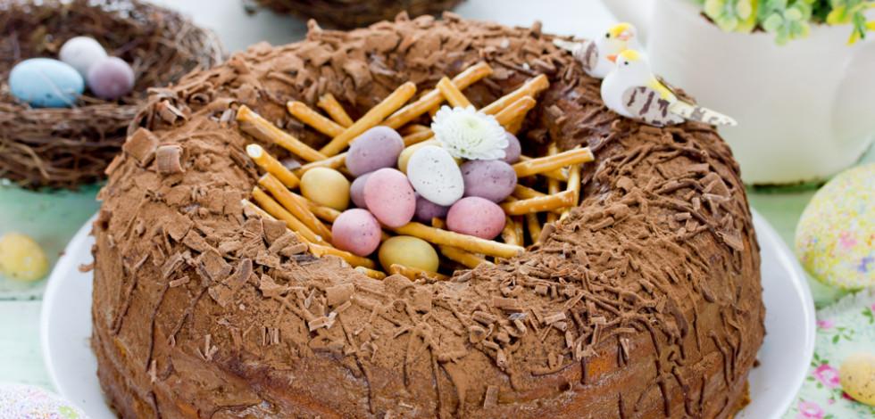 Homemade chocolate nest cake
