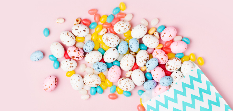 Paper bag of mini eggs and jelly beans