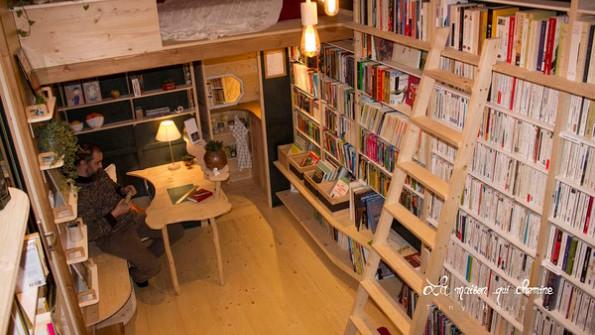 Inside the tiny house bookshop