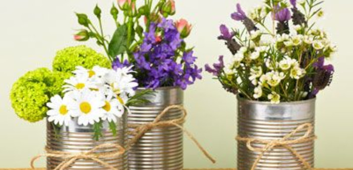 Flower arrangements in cans